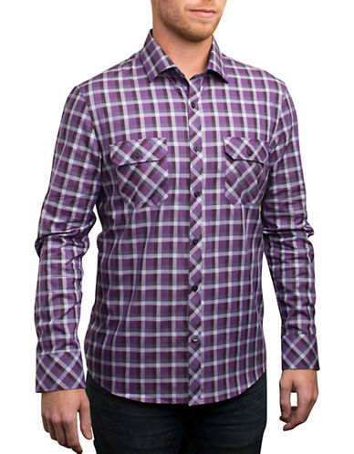 English Laundry Checked Sport Shirt-PURPLE-Small