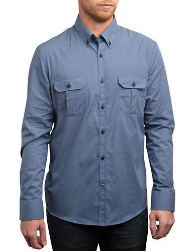 English Laundry Micro-Dot Sport Shirt-BLUE-Large