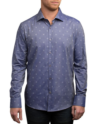 English Laundry Dobby Print Sport Shirt-INDIGO-Small