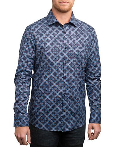 English Laundry Geometric Floral Print Sport Shirt-BLUE-Small
