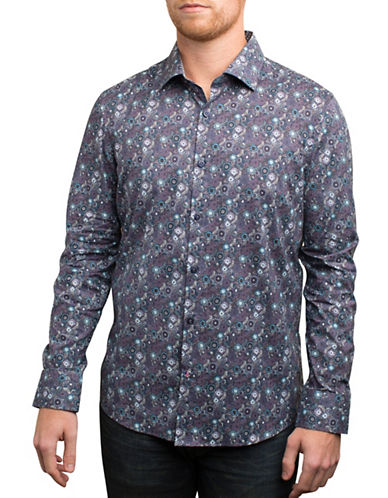 English Laundry Cool Tone Floral Print Sport Shirt-INDIGO-Small