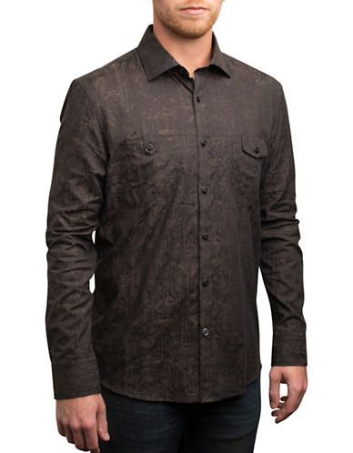 English Laundry Deep Palm Leaf Print Shirt-BLACK-Small