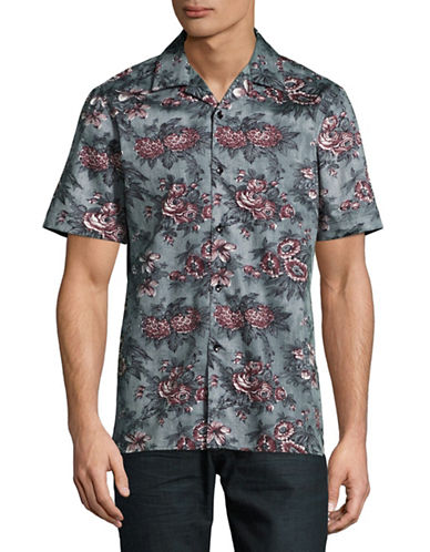 English Laundry Short Sleeve Rose Print Shirt-GREY-Medium