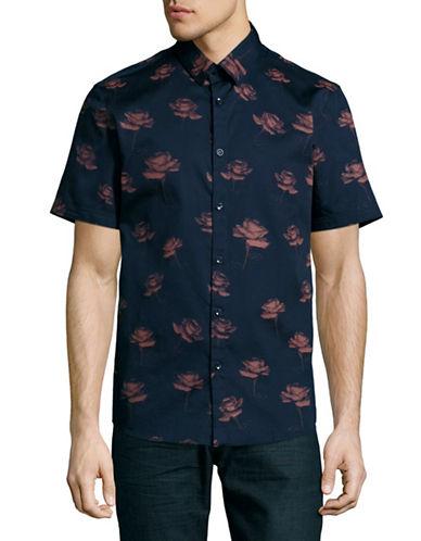 English Laundry Short Sleeve Satin Rose Print Shirt-BLUE-Small