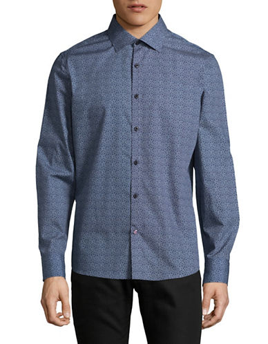 English Laundry Mosaic Print Shirt-BLUE-X-Large