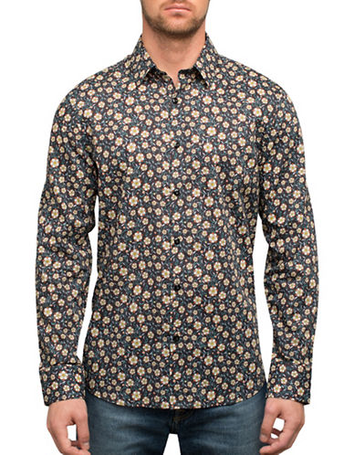 English Laundry Floral and Vines Cotton Casual Button-Down Shirt-BLACK-Small