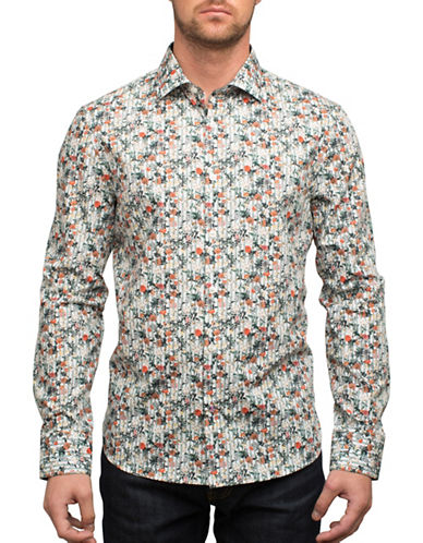English Laundry Busy Floral Pinstripe Cotton Casual Button-Down Shirt-MULTI-Large