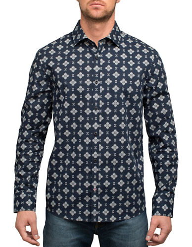 English Laundry Bandana Cotton Casual Button-Down Shirt-BLUE-Small