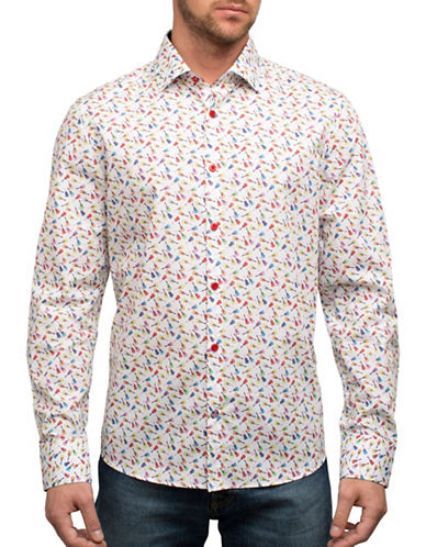 English Laundry Guitars Cotton Casual Button-Down Shirt-MULTI-Medium