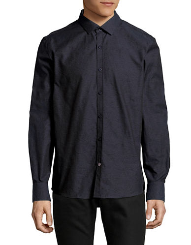 English Laundry Tonal Vines Jacquard Shirt-BLUE-Medium
