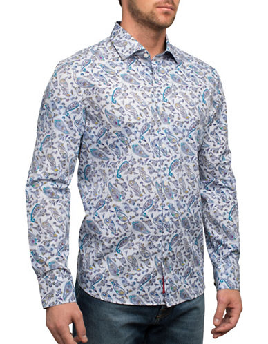 English Laundry Big Bold Paisley Cotton Casual Button-Down Shirt-MULTI-XX-Large
