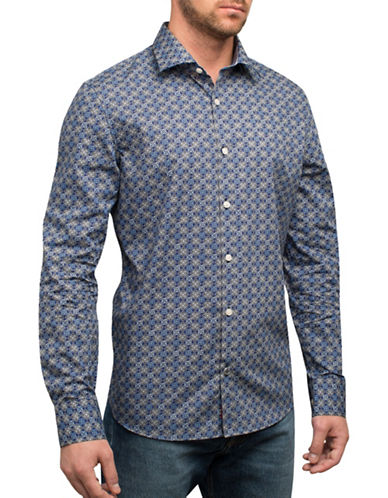 English Laundry Two-Tone Diamonds Cotton Casual Button-Down Shirt-BLUE-Medium