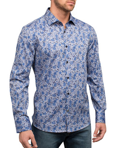 English Laundry Subtle Flowers Cotton Casual Button-Down Shirt-BLUE-Small