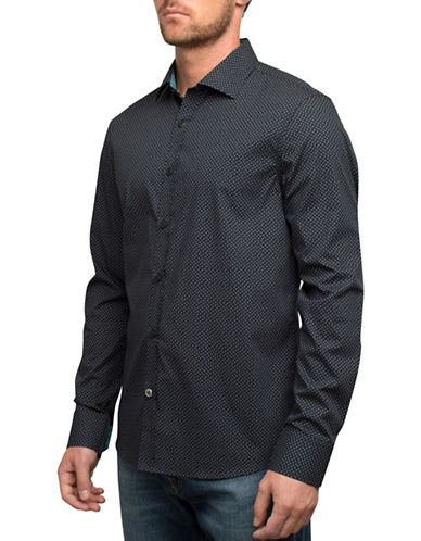 English Laundry Tiny Square Outlines Cotton Casual Button-Down Shirt-BLACK-Large