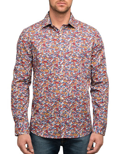 English Laundry Busy Floral Cotton Casual Button-Down Shirt-MULTI-Small