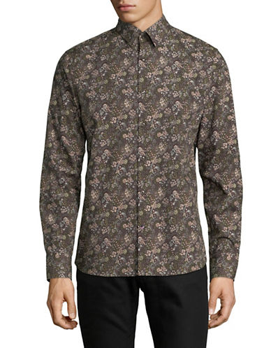 English Laundry Floral Printed Sport Shirt-BROWN-Small