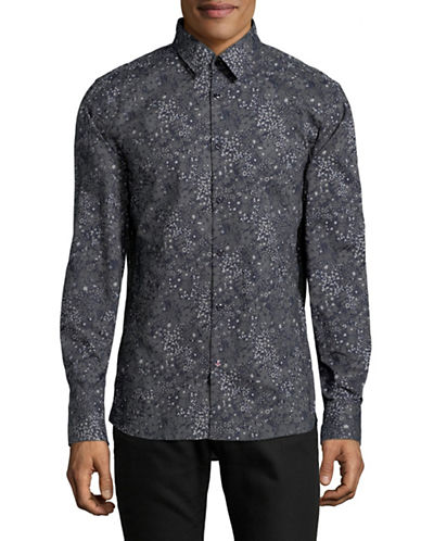 English Laundry Tonal Floral Sport Shirt-BLUE-Small