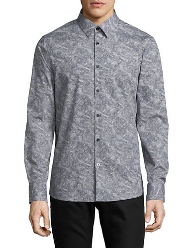 English Laundry Linework Paisley Sport Shirt-BLUE-Large