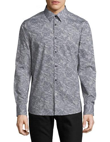 English Laundry Linework Paisley Sport Shirt-BLUE-X-Large