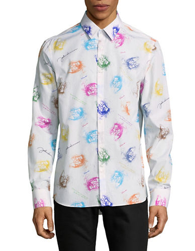 English Laundry Printed Lyric Sport Shirt-MULTI-COLOURED-Medium