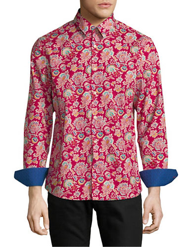 English Laundry Bold Paisley-Print Cotton Sport Shirt-RED-Small
