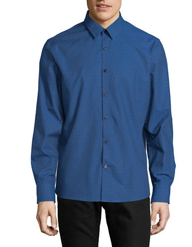 English Laundry Abstract Circles Dobby Cotton Sport Shirt-ENVY NAVY-Large