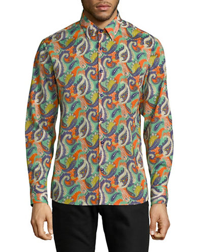 English Laundry Paisley-Print Cotton Sport Shirt-MULTI-Large