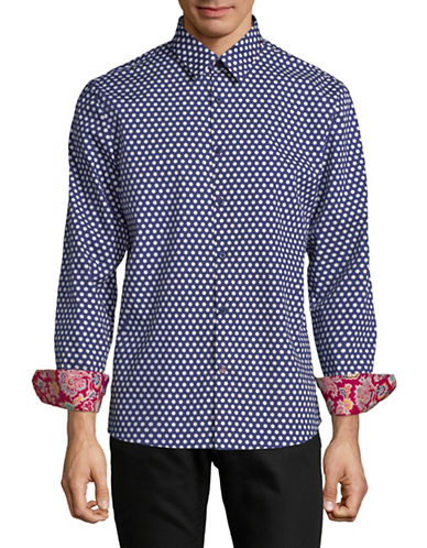 English Laundry Polka Dot Cotton Sport Shirt-ENVY NAVY-XX-Large