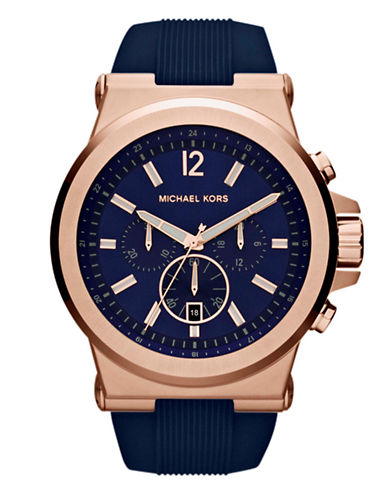 Michael Kors Mens Silicone and Stainless Steel Dylan Chronograph Watch-BLUE-One Size
