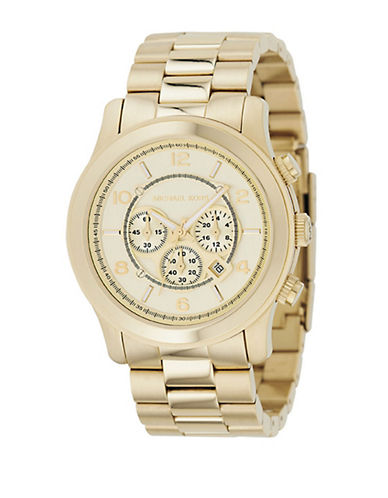 Michael Kors Over Sized Gold Plated Runway Watch-GOLD-One Size
