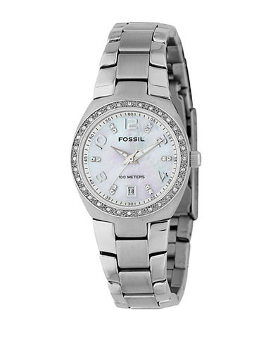 Fossil Ladies Mother of Pearl Dial With Glitz and Silver Bracelet-SILVER-One Size