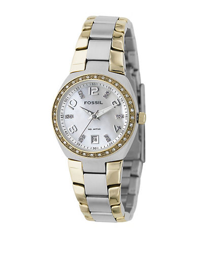 Fossil Mother of Pearl Dial With Two Tone Bracelet Watch-TWO TONE COLOUR-One Size