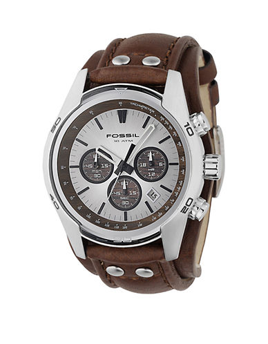 Fossil Mens  Tan Dial With Brown Leather Strap Watch-BROWN-One Size