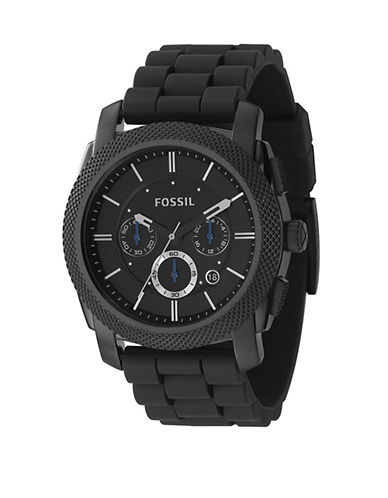 Fossil Mens  Machine Black Dial With Black Silicone Strap Watch-BLACK-One Size
