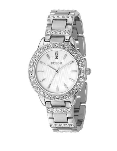 Fossil Round Silver Dial With Glitz And Silver Bracelet Watch-SILVER-One Size