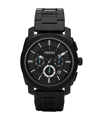 Fossil Mens Machine Black Dial Chrono Watch-BLACK-One Size