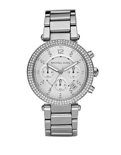 Michael Kors Silver Parker With Glitz Watch-SILVER-One Size