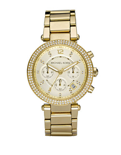 Michael Kors Ladies Parker Mid Size Chronograph-GOLD-One Size