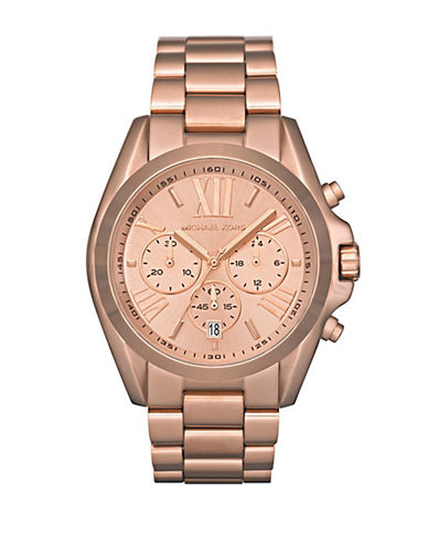 Michael Kors Michaels Kors Mid Size Rose Gold Tone Stainless Steel Bradshaw Chronograph Watch-ROSE GOLD-One Size