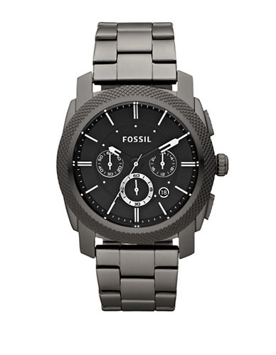 Fossil Mens Smoke Coloured Machine Chronograph Stainless Steel Watch-GREY-One Size