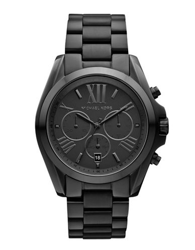 Michael Kors Mid-Size Black Tone Stainless Steel Bradshaw Chronograph Watch-BLACK-One Size