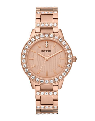 Fossil Jesse Three Hand Stainless Steel Watch Rose-ROSE GOLD-One Size