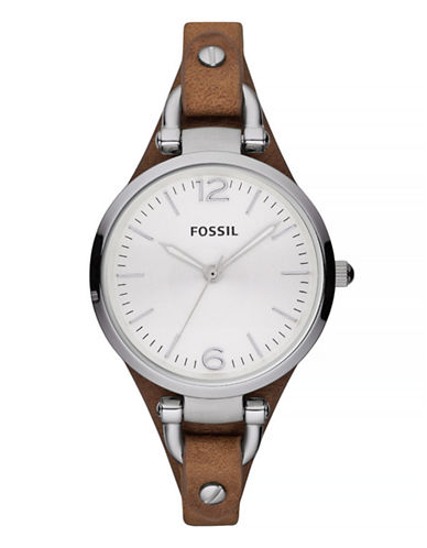 Fossil Georgia Leather And Stainless Steel Watch-TAN-One Size