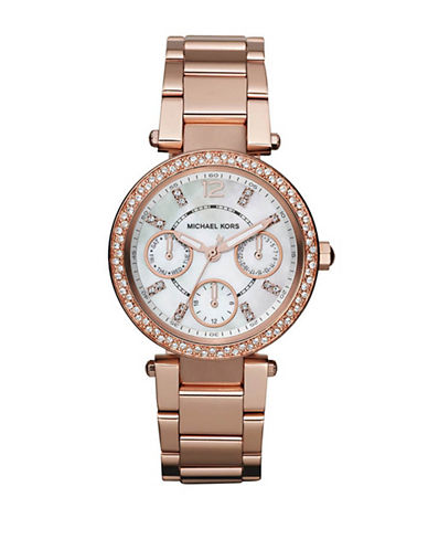 Michael Kors Michael Kors Mini Size Rose Gold Tone Stainless Steel Parker Multifunction Glitz Watch-ROSE GOLD-One Size