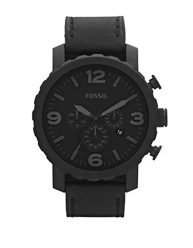 Fossil Mens  Nate Black Leather Watch-BLACK-One Size