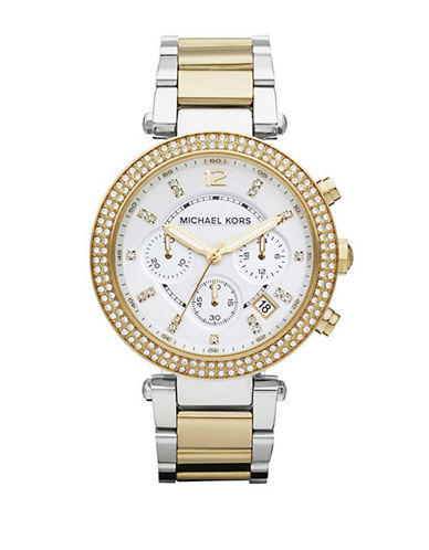 Michael Kors Mid Size Silver and Gold Tone Stainless Steel Parker Chronograph Glitz Watch-TWO TONE-One Size