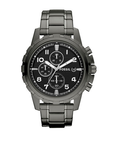 Fossil Mens Dean Stainless Steel Smoke Watch-GREY-One Size