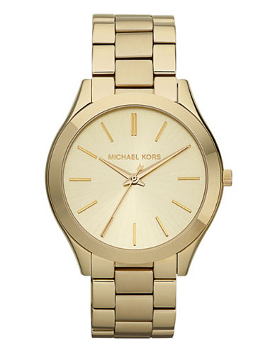 Michael Kors Womens Slim Gold Coloured Watch-GOLD-One Size