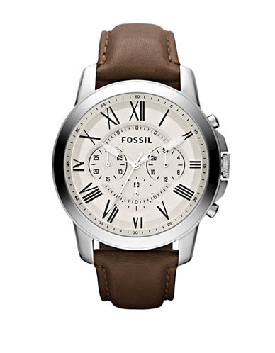 Fossil Mens Grant Leather  Brown Watch FS4735-BROWN-One Size