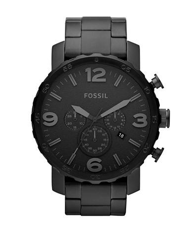 Fossil Nate Chronograph Stainless Steel Watch - Black-BLACK-One Size